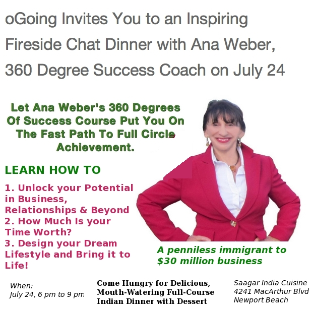 Ana Weber - 360 Degree Business Coach - July 24 Fireside Chat Dinner