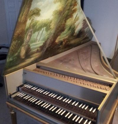 Painted Harpsischord w/ lid open