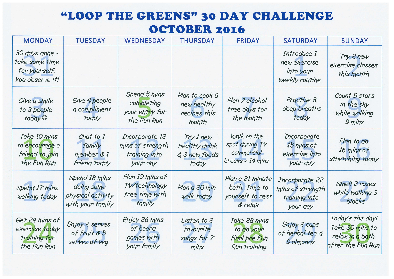 Fun Run Challenge Sheet