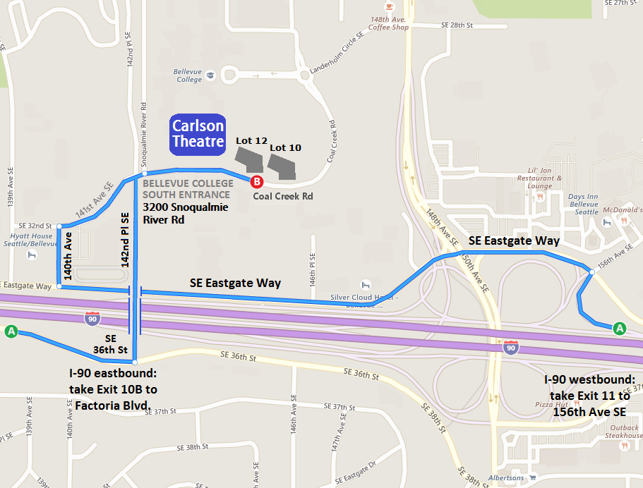 Map to Carlson Theater