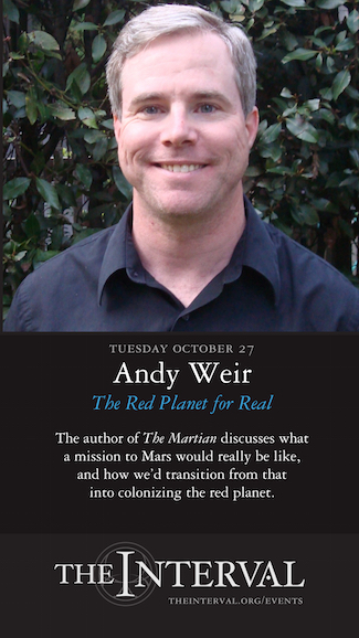 Andy Weir at The Interval, October 27 02015