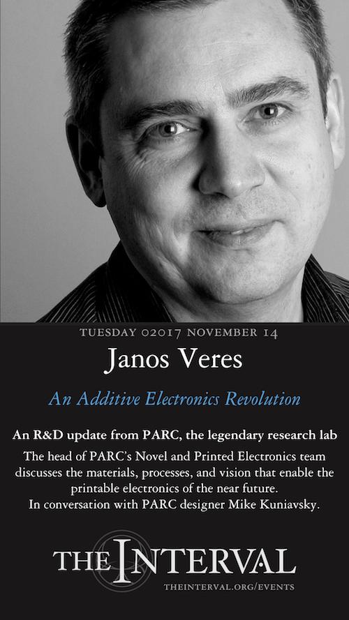 Janos Veres (PARC) at The Interval, November 14, 02017