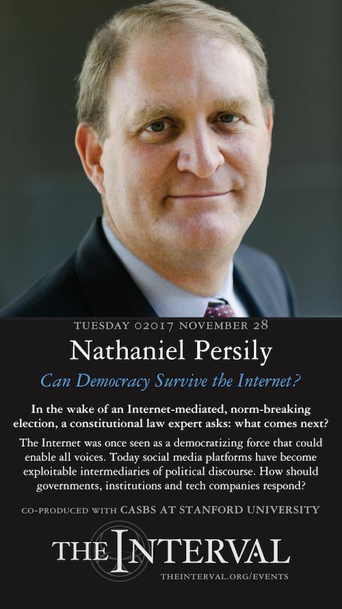 Nathaniel Persily at The Interval, November 28, 02017