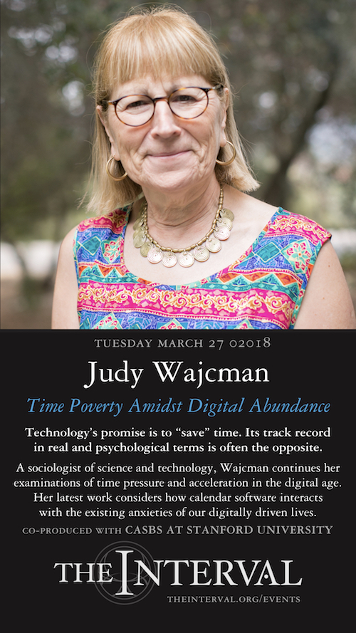 Judy Wajcman at The Interval, March 27, 02018