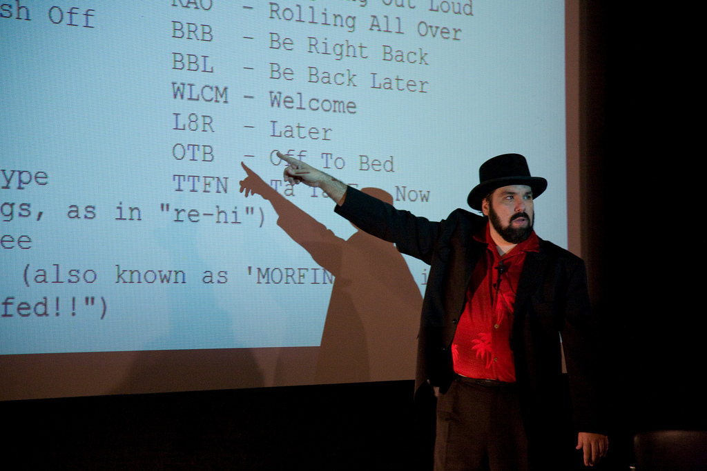 Jason Scott speaks at The Interval at Long Now, Feb 24 02015 (photo by Scott Beale)