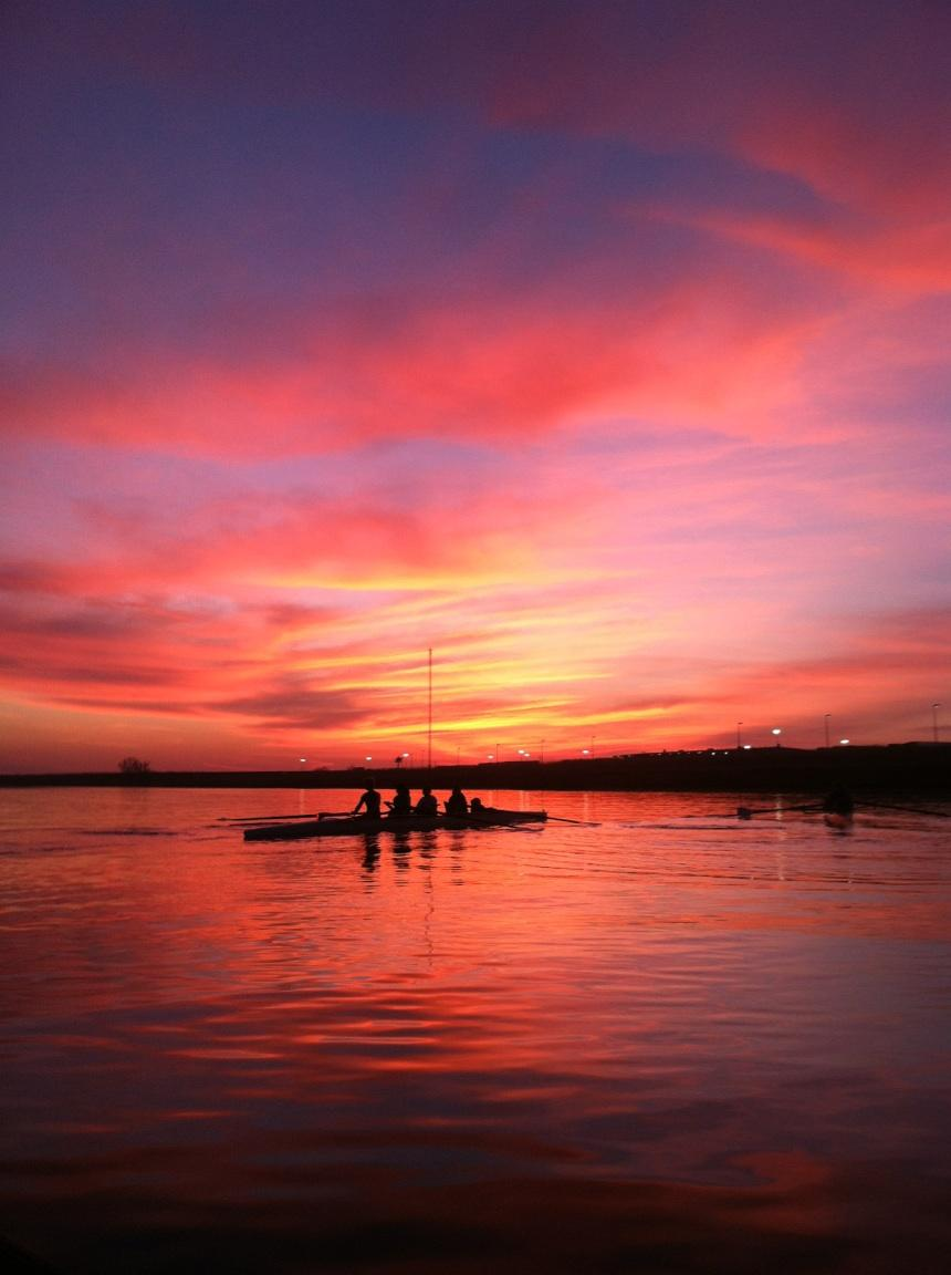 Rowers at Sunset