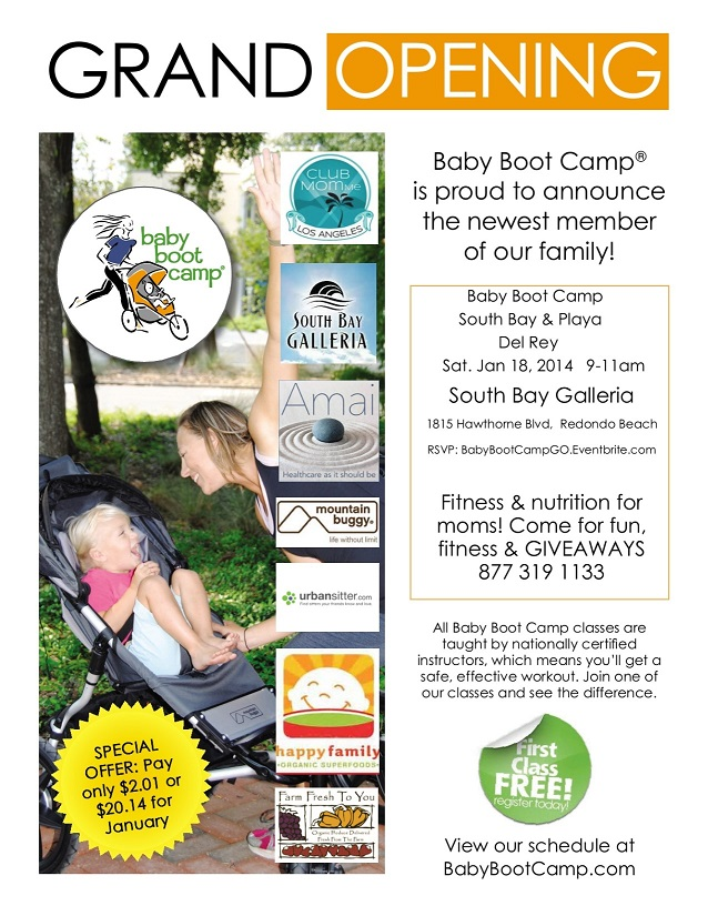 Baby Boot Camp Grand Opening Flyer with Sponsor logos