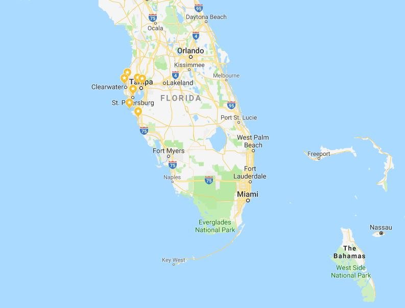 Tampa Bay map with destinations and ocean