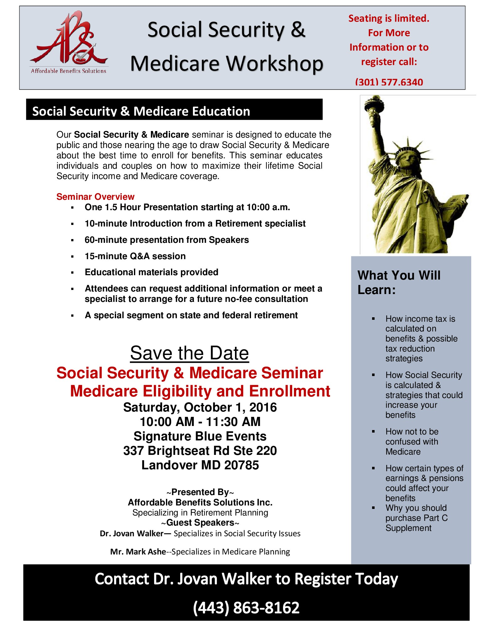 Social Security & Medicare Workshop Oct 1 2016