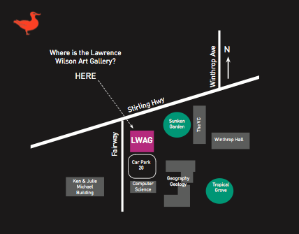 Map locating the gallery. The Gallery is at the corner of Stirling Highway and Fairway.