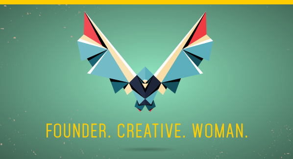 Geometric bird rising from ground words founder, creative, woman