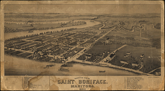 'Birds Eye' map of St. Boniface in late 1879 produced by American Cartographer Thaddeus Mortimer Fowler