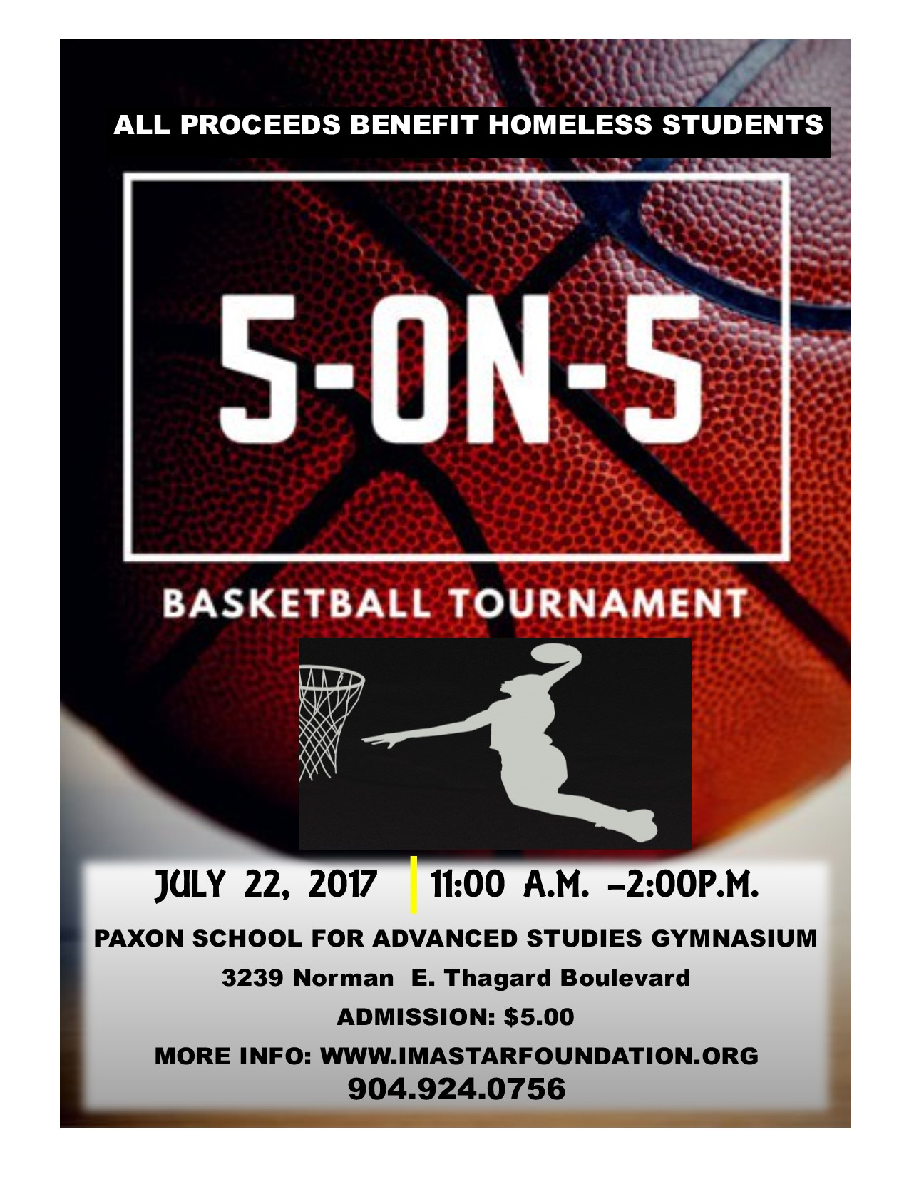 5 ON 5 BASKETBALL TOURNAMENT TO BENEFIT HOMELESS STUDENTS