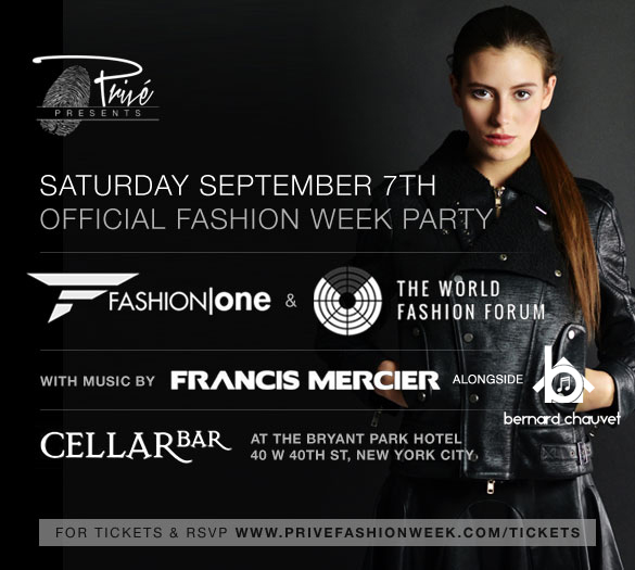 Fashion One Official Fashion Week Party Tickets Sat Sep