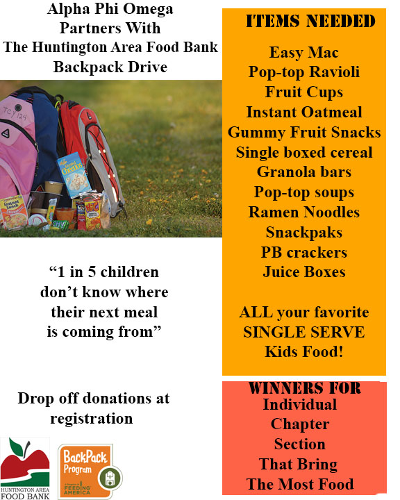 APO partners with The Huntington Food Bank for a backpack drive.