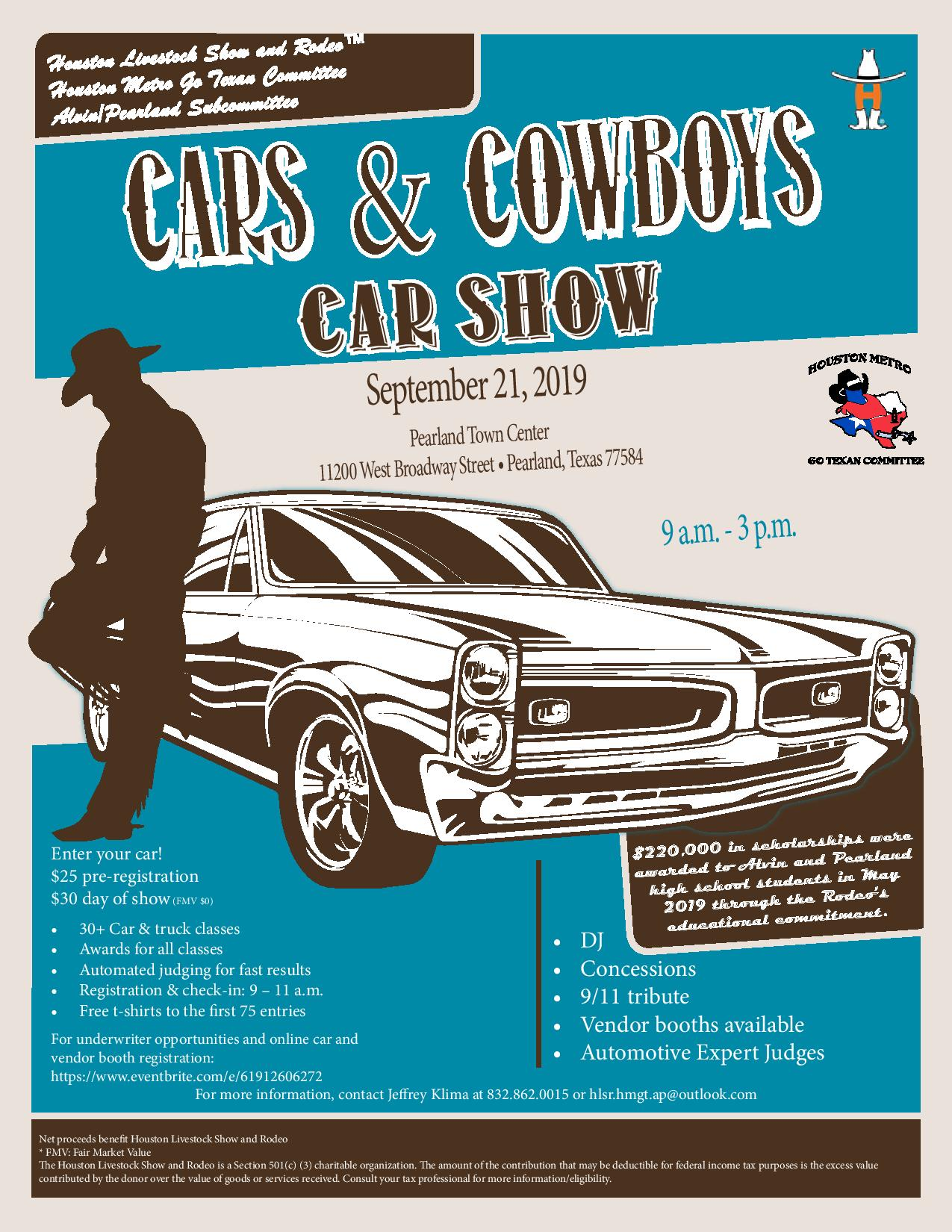 Alvin/Pearland Cars and Cowboys Car Show Tickets, Sat, Sep 21, 2019
