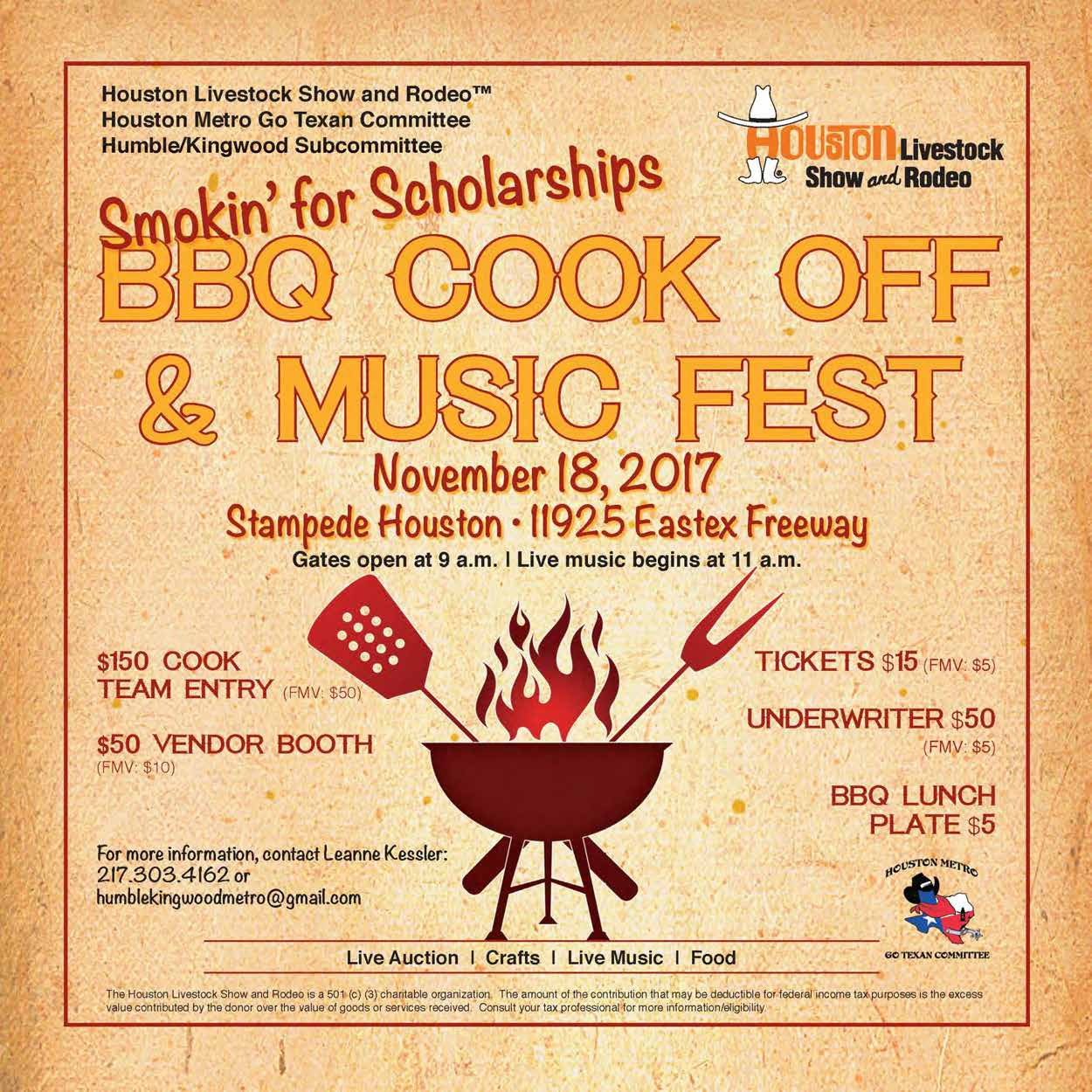 FOR MORE INFO Leanne Kessler 217.303.4162 leanne.g.kessler@gmail.com. The Houston Livestock Show and Rodeo ...  sc 1 st  Eventbrite & Humble/Kingwood BBQ Cook-off Tickets Fri Nov 17 2017 at 2:00 PM ...