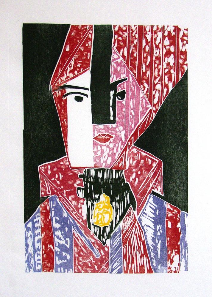 Jigsaw Woodblock Print by Noah Breuer