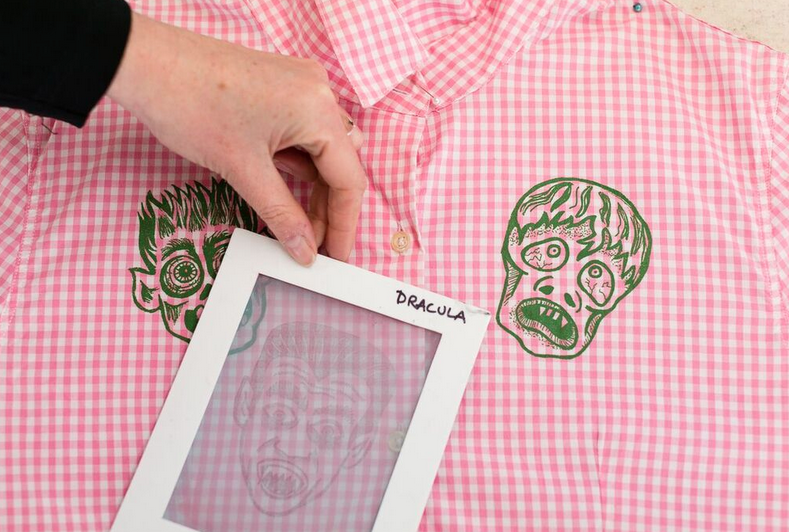 Printing onto a shirt with a thermofax screen