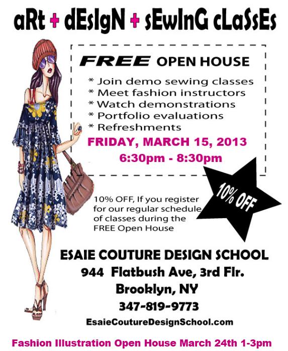 Esaie couture fashion design program open house invite