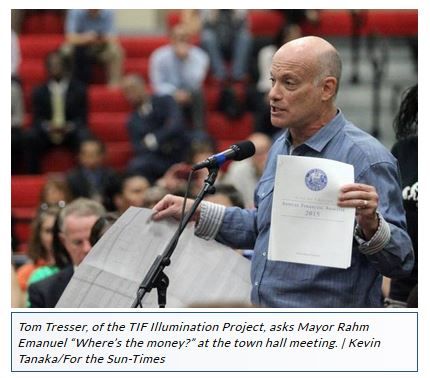 Tom asks Mayor Emanuel to show us where the TIF $ is hidden.