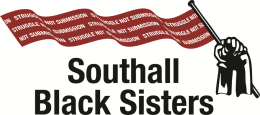 Southall Black Sisters Logo, red flag flying with white writing reading 'Struggle Not Submission'
