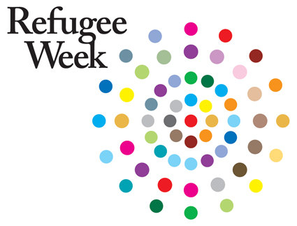 Refugee Week logo is a colourful circle pattern