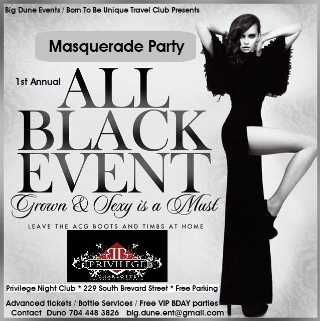 all black  attire  masquerade party