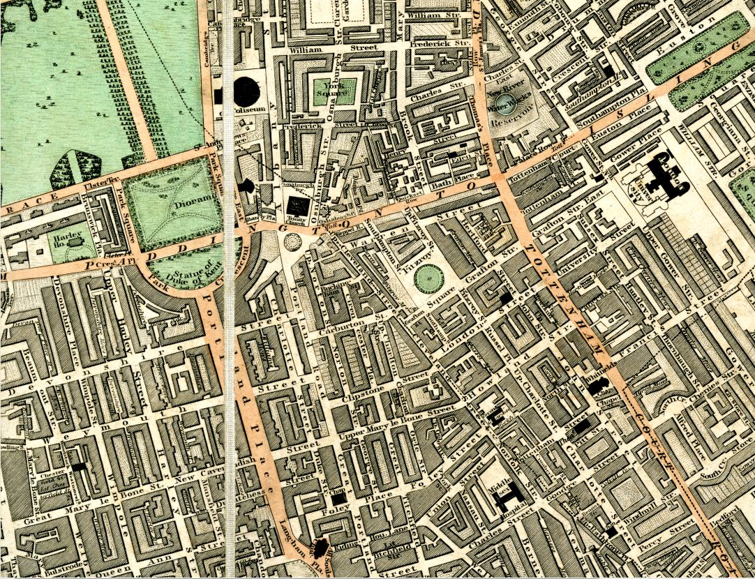 1826 map showing a western segment of Bloomsbury which includes what is now the UCL main campus