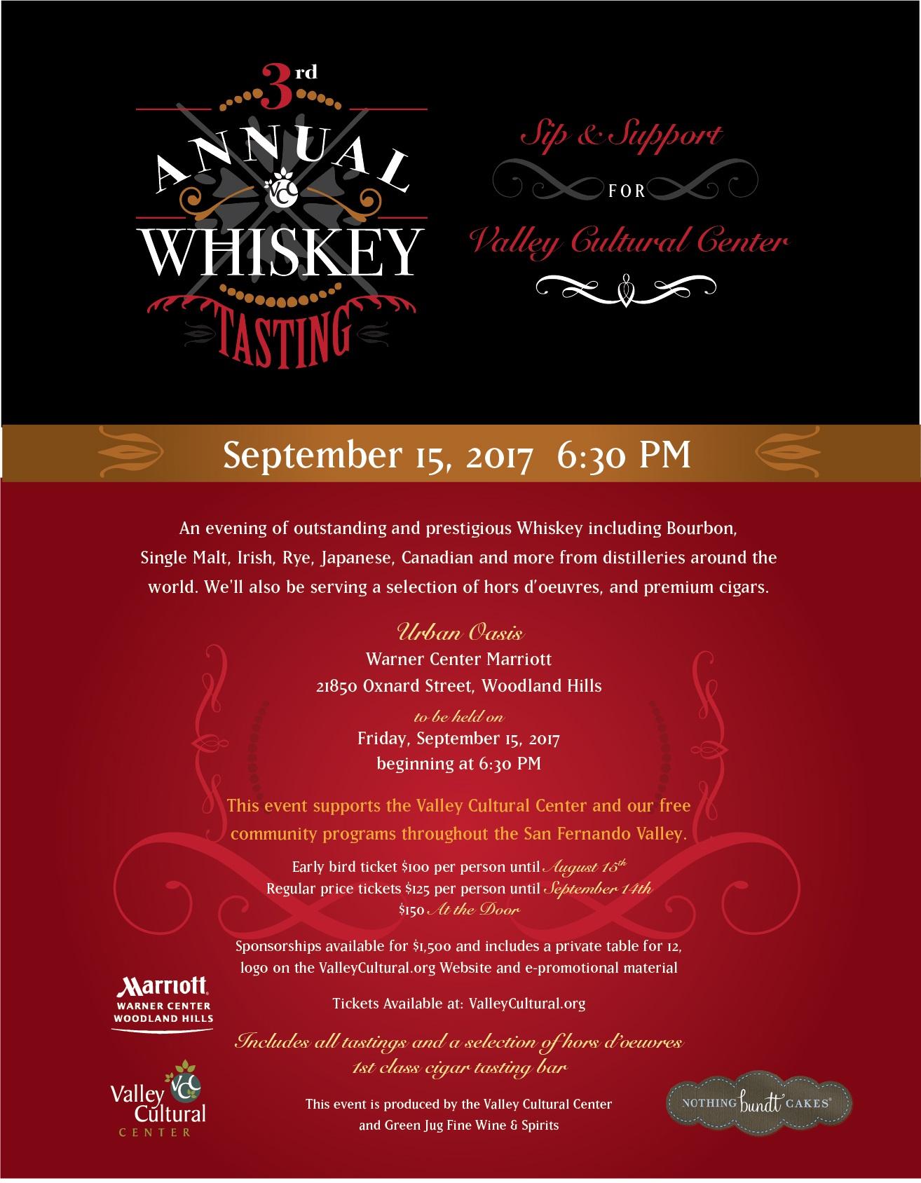 3rd Annual Whiskey Tasting Tickets Fri Sep 15 2017 at 630 PM