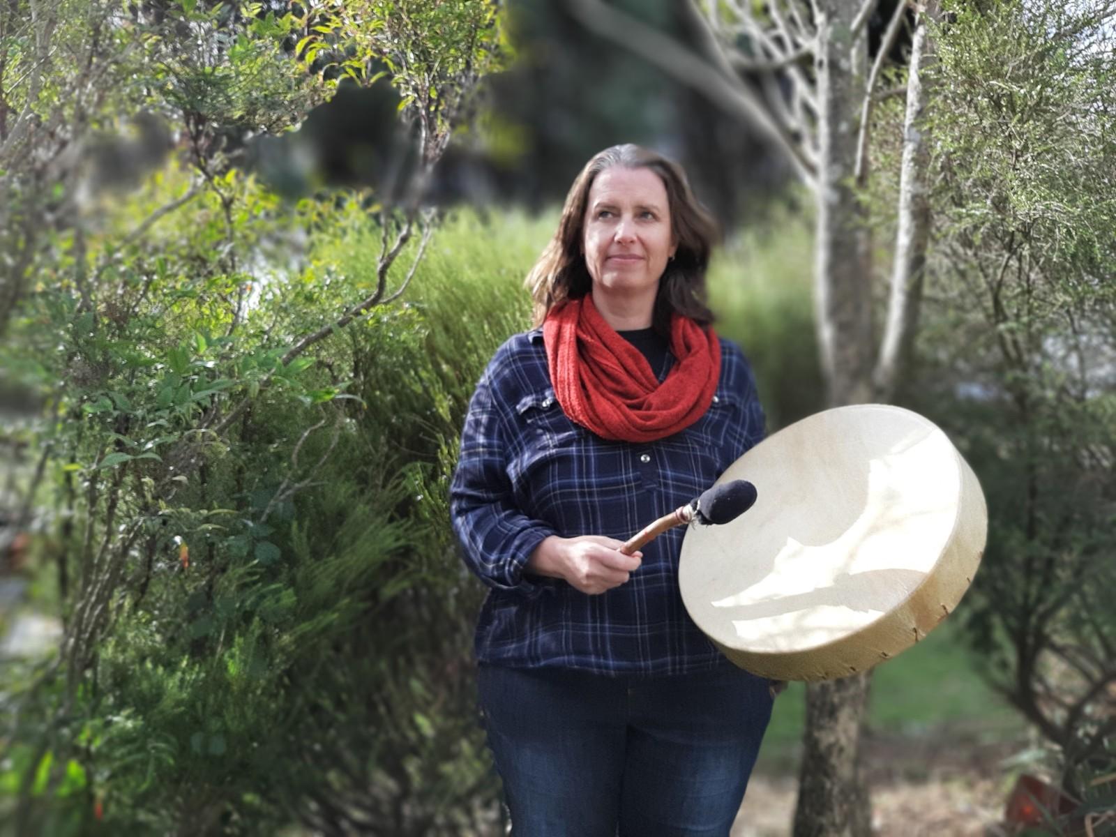 Jane Anderson with her medicine drum
