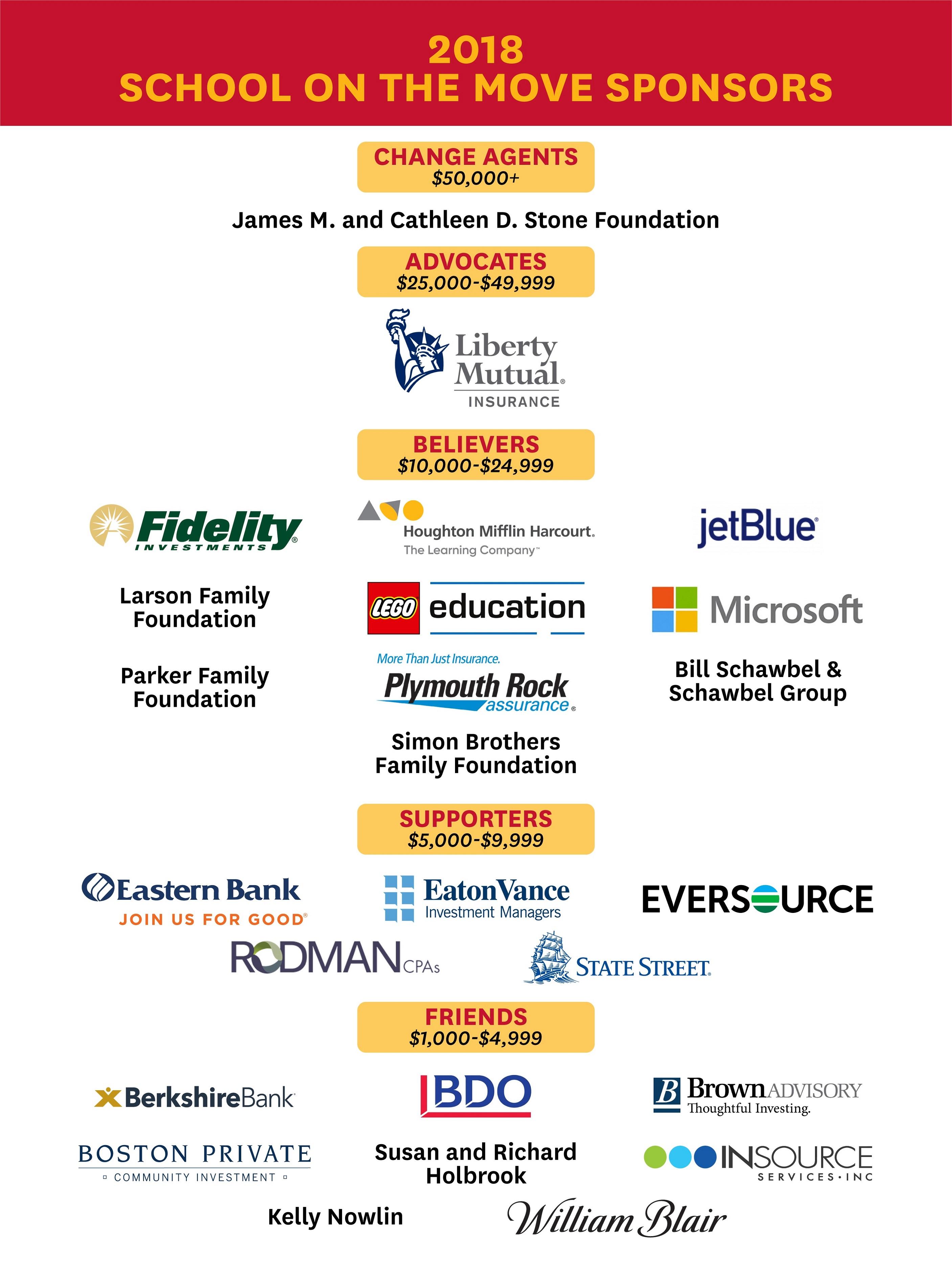 2018 School on the Move Sponsors