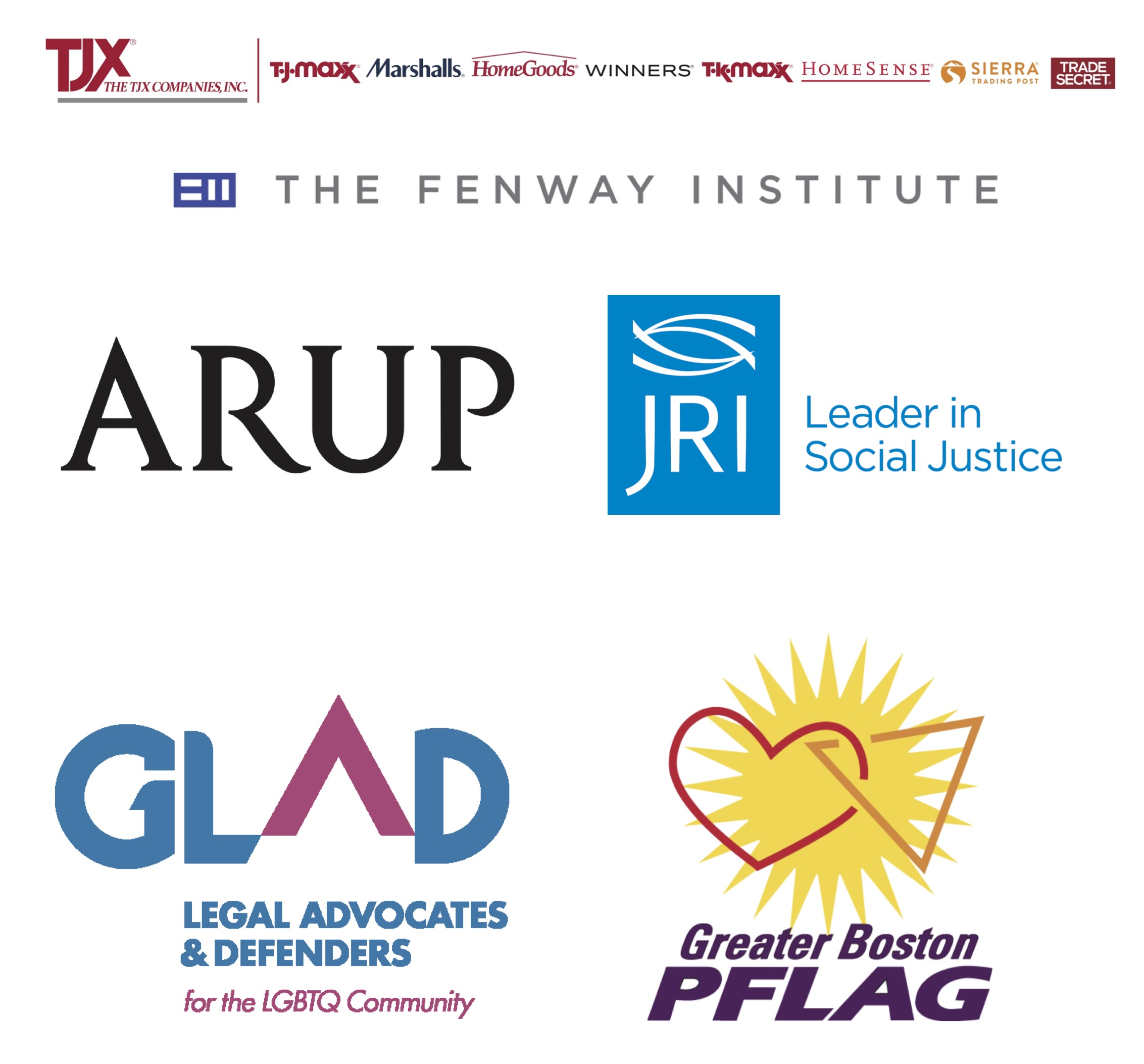 A collage of logos from our event sponsors, including TJX, The Fenway Institute, Arup, Justice Resource Institute, GLAD, and Greater Boston PFLAG