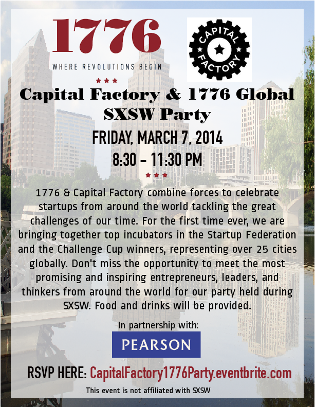 Join 1776 and Capital Factory for a startup party!