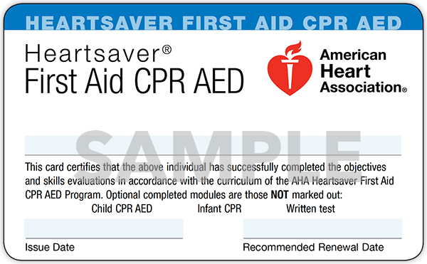 CPR First Aid AED Card