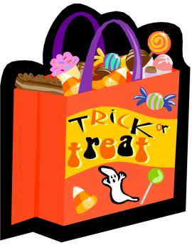 Halloween games and trick or treat candy