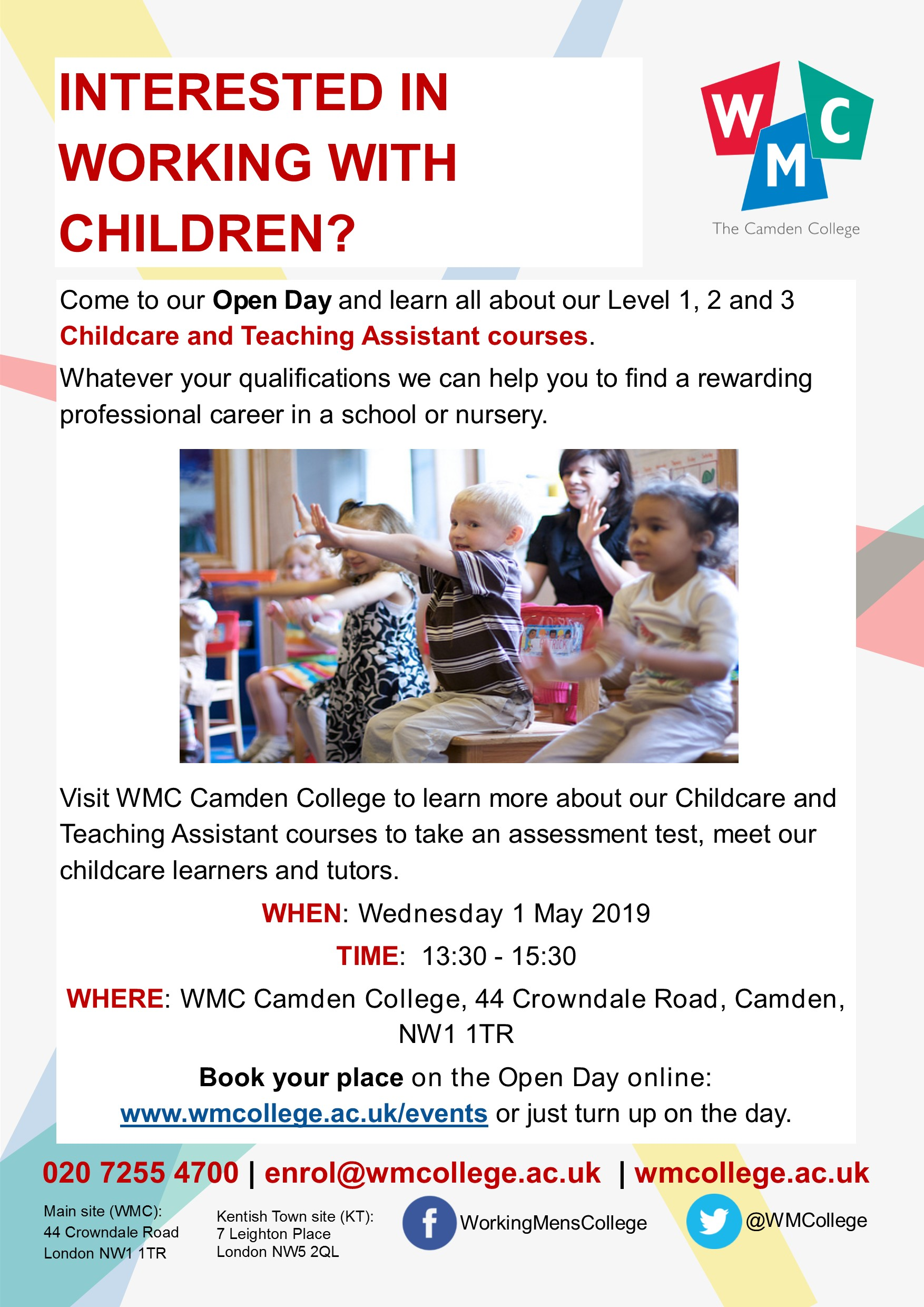 Childcare Open Day 1 May at WMC Camden College