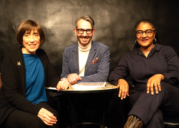 Joey Stocks at The Dramatist Live, with Susan Birkenhead and Lynn Nottage