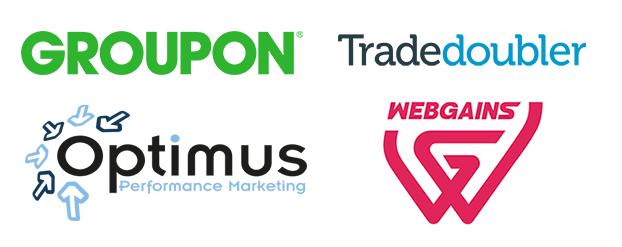 Groupon, Webgains, Optimus, Tradedoubler