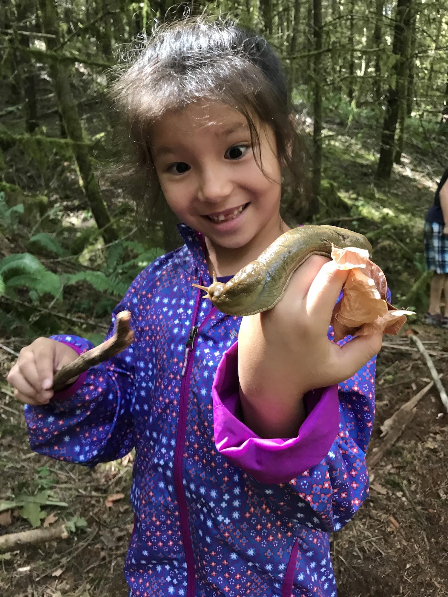 Girl with banana slug