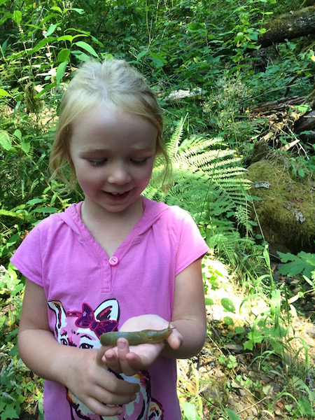 Child with banana slug