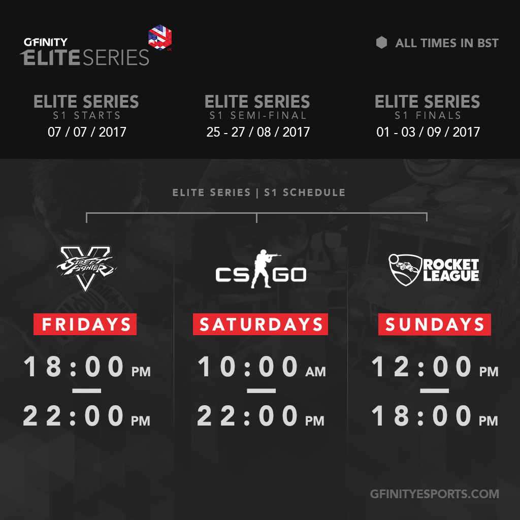 The full 9 week schedule for the Gfinity Elite Series.