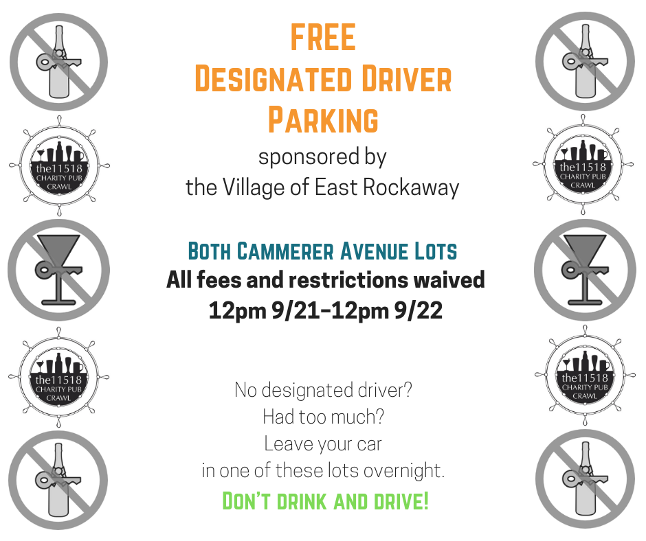 FREE designated driver parking lots for the Charity Pub Crawl