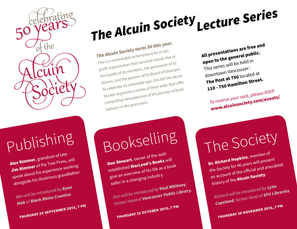 Alcuin Society Talk Series Poster
