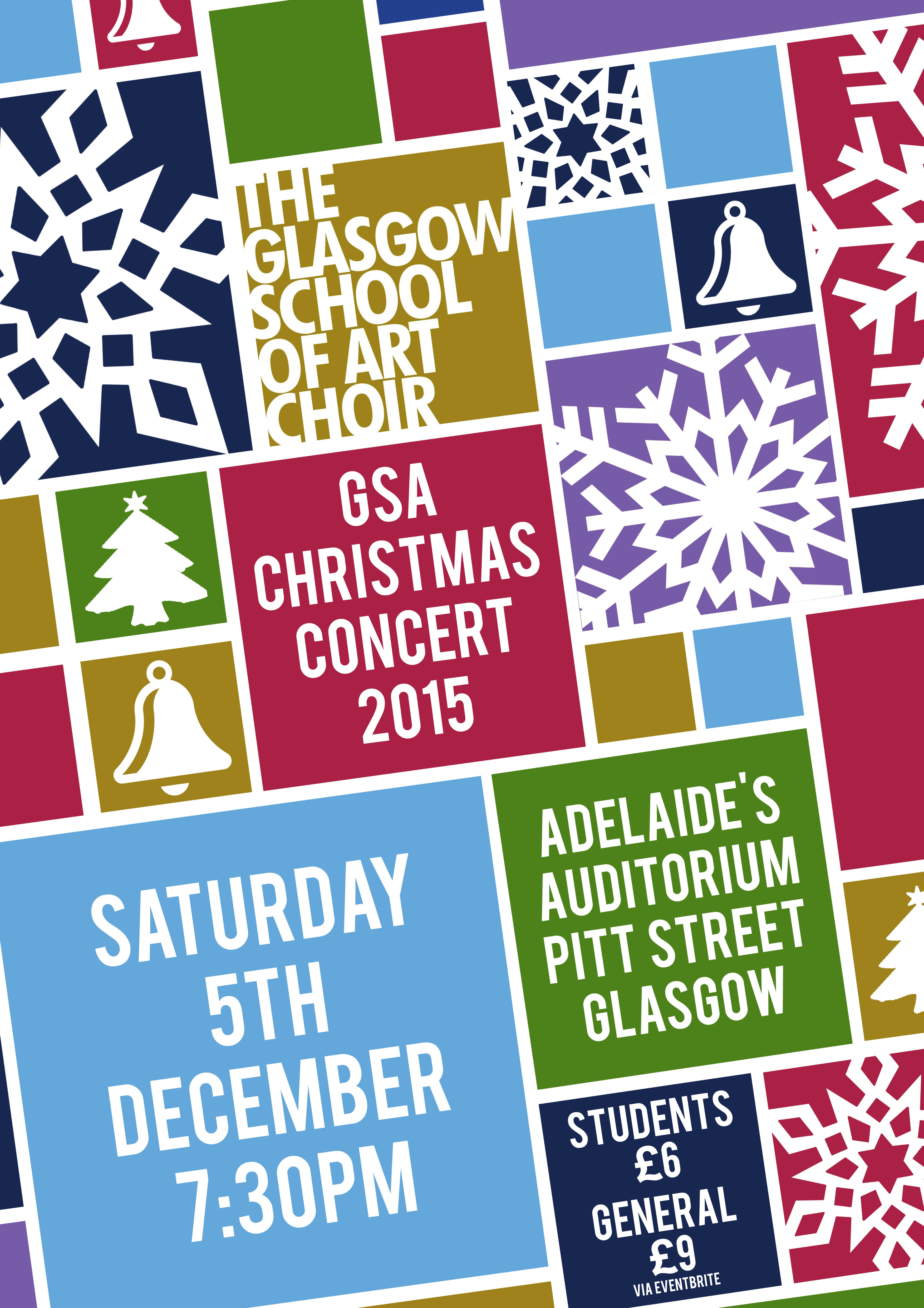 GSA Christmas Concert 2015 poster designed by Gaelen McCartney
