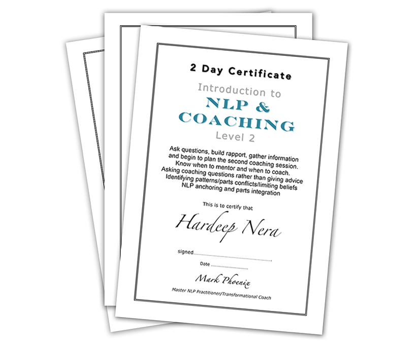 Certificates NLP and Coaching
