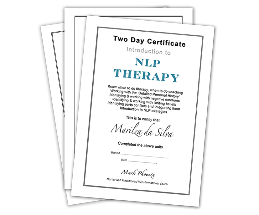 Certificates for Coaching and NLP
