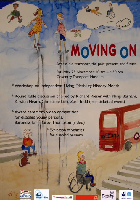 Poster for the Moving On event - disabled people on ground level and in the clouds some are levitating