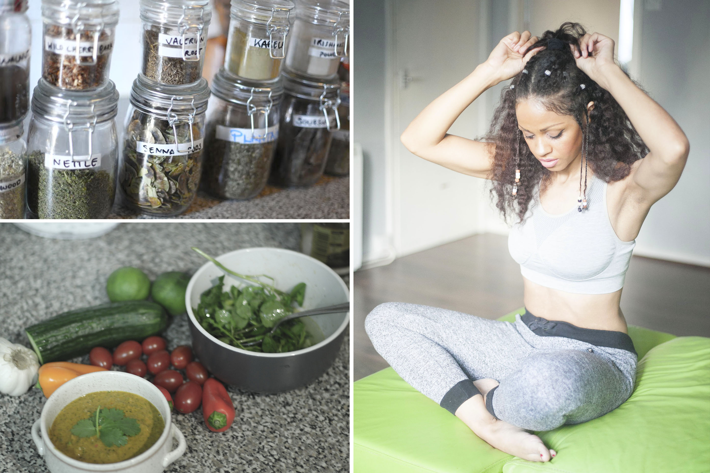 herbs, healthy food, afro hair