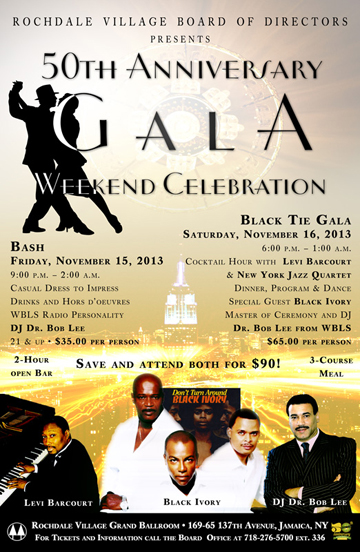 Flyer promoting 50th Anniversary Black Tie Gala at Rochdale Village